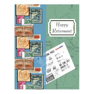 Glückliche Ruhestands-Briefmarken der Welt Postkarte