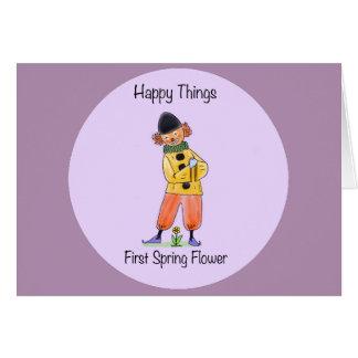 Glückliche Sachen - erste Frühlings-Blume Karte