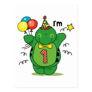 Glückliche Schildkröte-1. Geburtstag Postkarten
