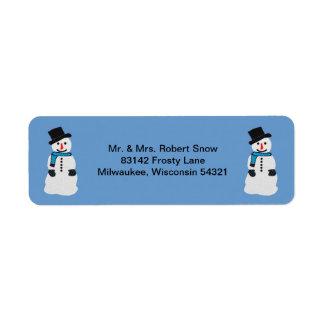 Glückliche Schneemann-Adressen-Etiketten Kleiner Adressaufkleber