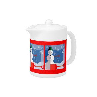 Glückliche Schneemann-Teekanne