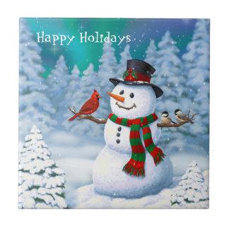 Glückliche Schneemann-und Winter-Vögel Fliese