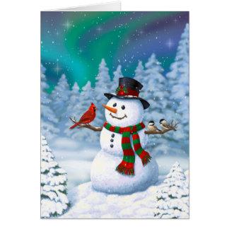 Glückliche Schneemann-und Winter-Vögel Karte