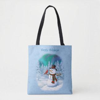 Glückliche Schneemann-und Winter-Vögel Tasche