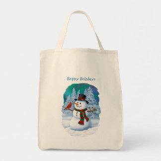 Glückliche Schneemann-und Winter-Vögel Tragetasche