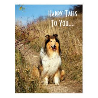 Glückliche Schwänze zu Ihnen Collie-Hundepostkarte Postkarte