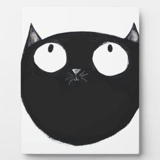 Glückliche schwarze Katze Fotoplatte