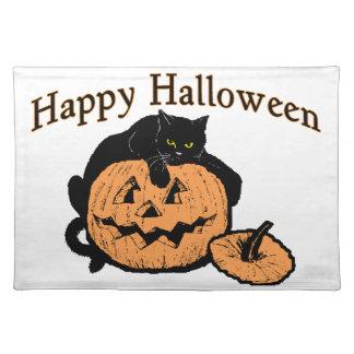 Glückliche schwarze Katze Halloweens auf Kürbis Tischset