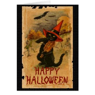 Glückliche schwarze Katze Halloweens, die Karte