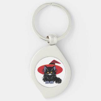 Glückliche schwarze Katze Halloweens Schlüsselanhänger