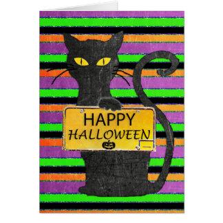 Glückliche schwarze Katzen-rustikale Zeichen-Karte Karte
