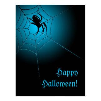 Glückliche schwarze Spinne Halloweens auf Netz Postkarte