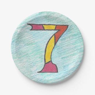 Glückliche sieben auf coolem Blues-Set Pappteller