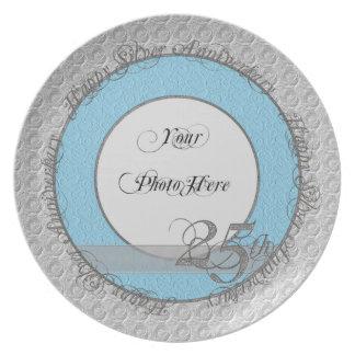 Glückliche silberne Jahrestags-Foto-Platte Teller