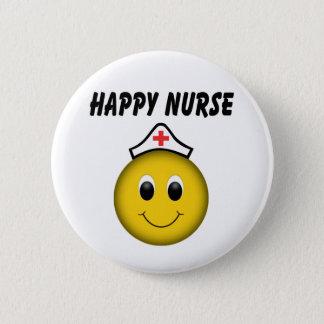 Glückliche Smiley-Krankenschwester Runder Button 5,7 Cm