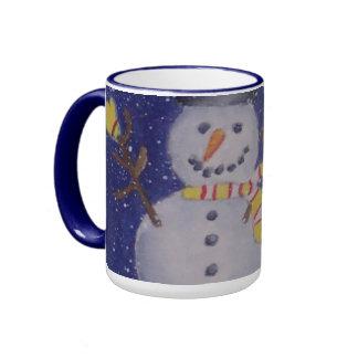Glückliche Snowman-Tasse Ringer Tasse