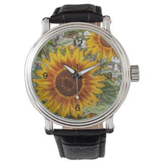 glückliche Sonnenblume des französischen Armbanduhr