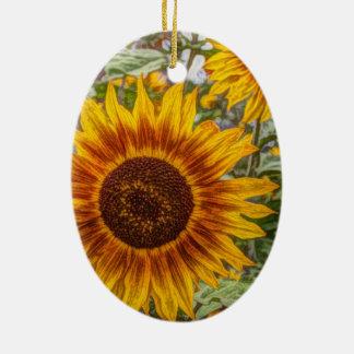 glückliche Sonnenblume des französischen Ovales Keramik Ornament