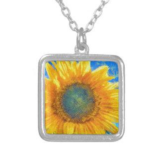 Glückliche Sonnenblume Versilberte Kette