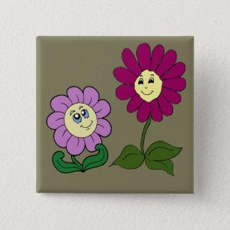Glückliche Sonnenblumen Quadratischer Button 5,1 Cm