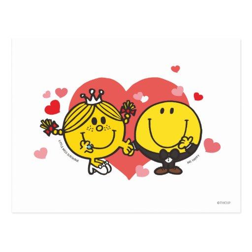 Glückliche Sonnenschein-Hochzeit Postkarte