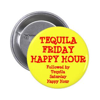 Glückliche Stunden-Gelb-rotes lustiges Tequila-Fre Runder Button 5,7 Cm