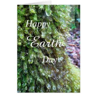 Glückliche Tag der Erde-Baum-Moos-Karte Grußkarte
