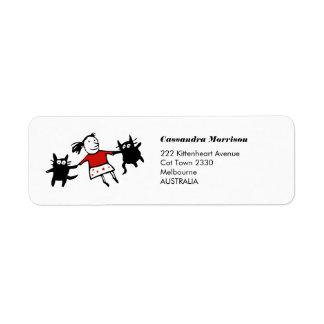 Glückliche Tanzen-Katzen-Adressen-Etiketten Rückversand-Adressaufkleber