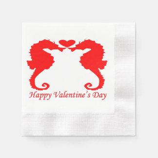 Glückliche Valentine-Seepferde und Herz Papierservietten