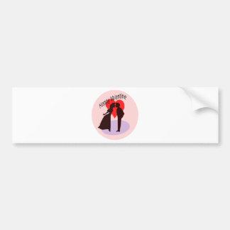 Glückliche Valentine-Silhouette eines Paares in Autoaufkleber