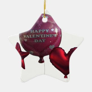 Glückliche Valentinstag-Ballone Keramik Ornament