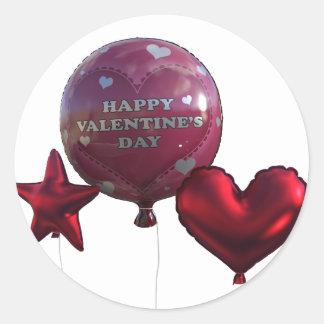 Glückliche Valentinstag-Ballone Runder Aufkleber