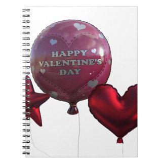 Glückliche Valentinstag-Ballone Spiral Notizblock