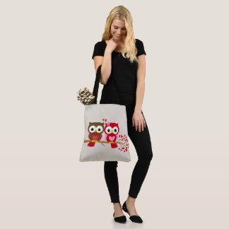 Glückliche Valentinstag-Eulen Tasche