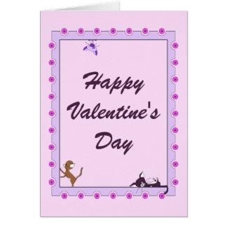 Glückliche Valentinstag-Karte - Katzen Karte