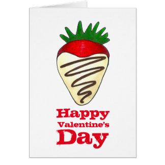 Glückliche Valentinstag-Schokoladen-Erdbeerkarte Grußkarte