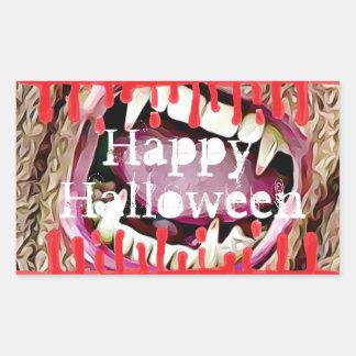 Glückliche Vampirs-Zahn-Aufkleber Halloweens Rechteckiger Aufkleber