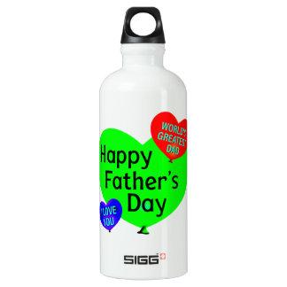 Glückliche Vatertags-Liebe Aluminiumwasserflasche