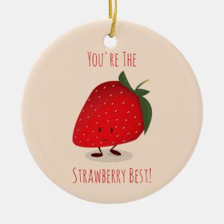 Glückliche Verzierung des Erdbeercharakter-  Keramik Ornament