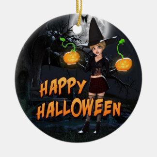 Glückliche Verzierung Halloweens Skye Rundes Keramik Ornament