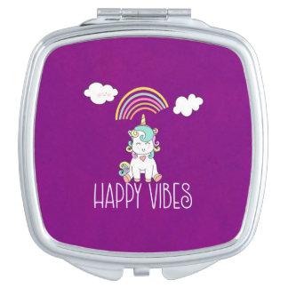 Glückliche Vibes-Typografieniedlicher lächelnder Taschenspiegel