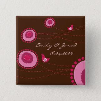 Glückliche Vogel-rosa Punkt-niedliche Blumen, die Quadratischer Button 5,1 Cm