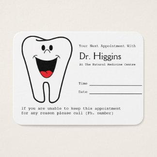 Glückliche Zahn-Zahnarzt-Verabredungs-Erinnerung Visitenkarte