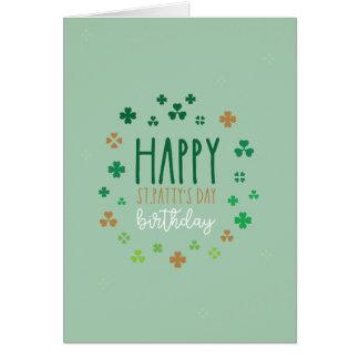 Glücklichen Geburtstag St. Pattys Tages Karte
