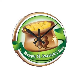 Glücklichen St Patrick Tag, irischer Runde Wanduhr
