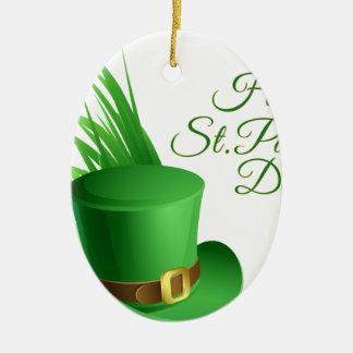 Glücklichen St Patrick Tag, irisches Hutheiliges Ovales Keramik Ornament