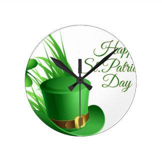 Glücklichen St Patrick Tag, irisches Hutheiliges Runde Wanduhr