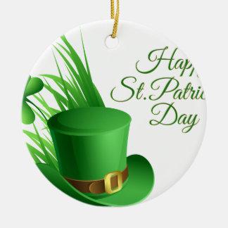 Glücklichen St Patrick Tag, irisches Hutheiliges Rundes Keramik Ornament