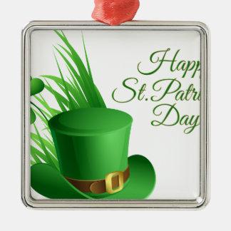 Glücklichen St Patrick Tag, irisches Hutheiliges Silbernes Ornament