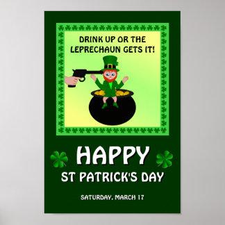 Glücklichen St Patrick Tagesgetränk herauf Plakat